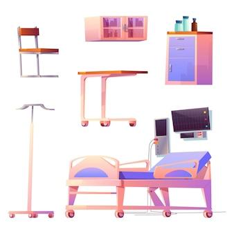 Oddział kliniki i wnętrze komory na białym tle