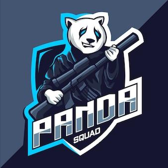 Oddział pandy z logo esport maskotka pistolet