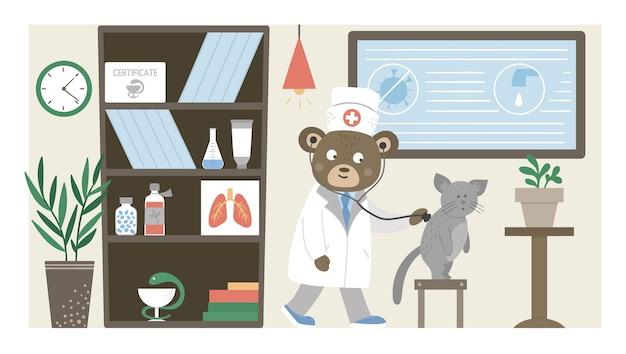 Oddział szpitalny. śmieszny lekarz zwierząt słucha płuc pacjentów w biurze kliniki. medyczne wnętrza płaskie ilustracja dla dzieci. pojęcie opieki zdrowotnej