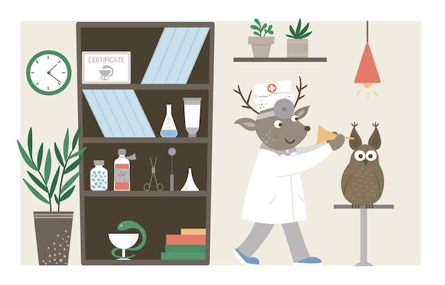 Oddział szpitalny. śmieszny lekarz zwierząt sprawdzający uszy pacjentów w gabinecie kliniki. medyczne wnętrza płaskie ilustracja dla dzieci. pojęcie opieki zdrowotnej