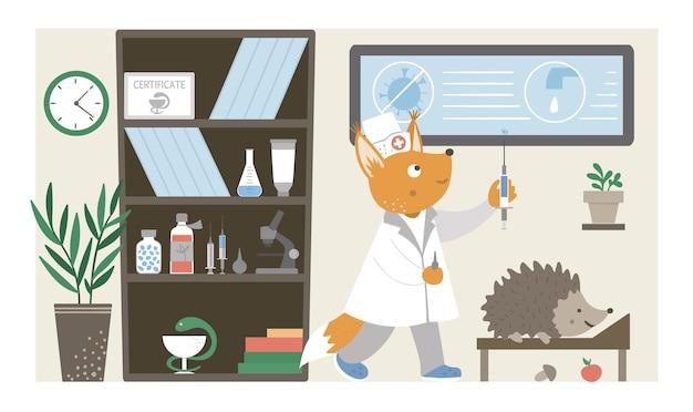 Oddział szpitalny. zabawna pielęgniarka zwierząt robi zastrzyk w biurze kliniki. medyczne wnętrza płaskie ilustracja dla dzieci. pojęcie opieki zdrowotnej