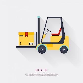 Odebrać. magazynowych ikon logistycznie puste miejsce i transport, składowa ilustracja.