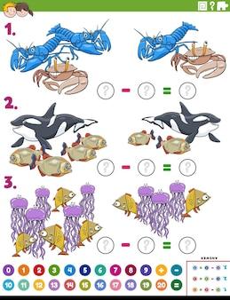 Odejmowanie zadań edukacyjnych z kreskówkowymi zwierzętami morskimi