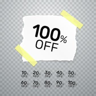 Oderwana kolekcja banerów papierowych z procentem rabatu na akcje. ilustracja wektorowa