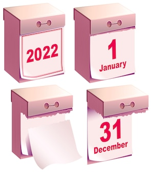 Oderwij kalendarz 2022. nowy rok czysty szablon kalendarza miesiąc grudzień i styczeń