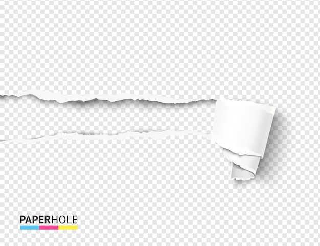 Oderwij kręcone przewijanie papieru i pustą koncepcję wyrwanego otworu