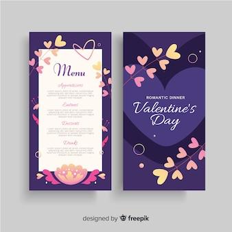 Odgałęzia się valentine menu szablon