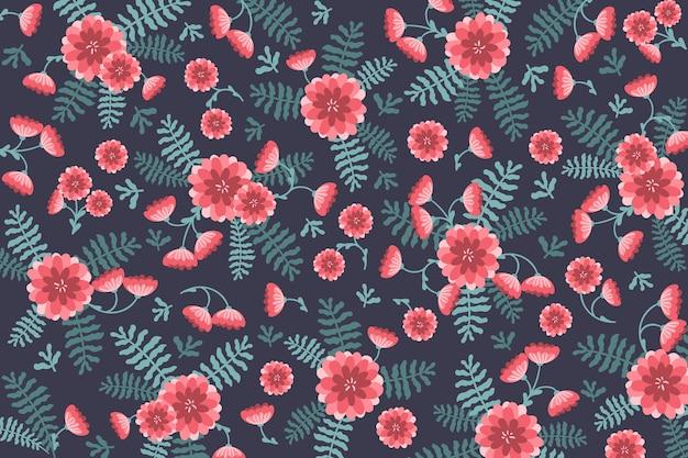 Odgórnego widoku tło z kwiatami i liśćmi