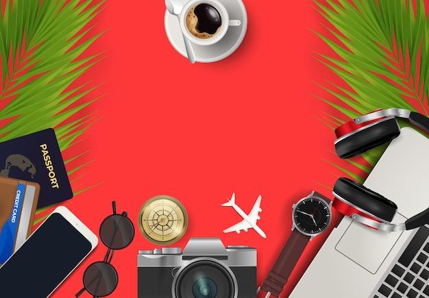 Odgórny widok na podróży i wakacji pojęciu światowy tło