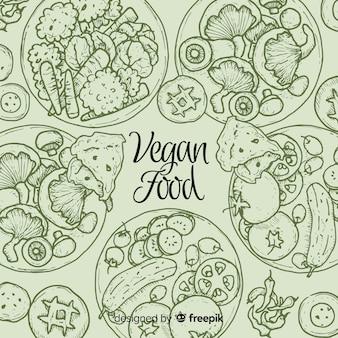 Odgórny widok weganinów naczynia na restauracja stole