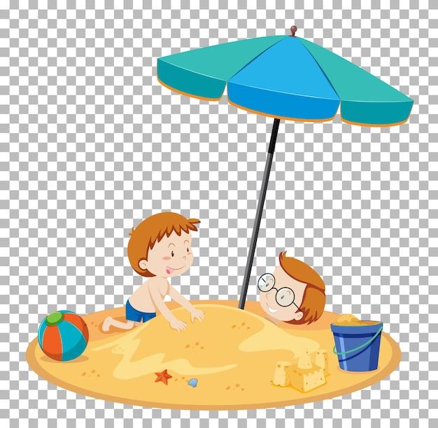 Odizolowani ludzie na plaży latem