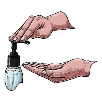 Odkażacz do rąk, ręcznie rysowane ilustracji