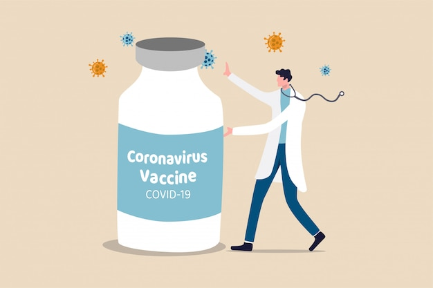 Odkrycie szczepionki coronavirus covid-19, lek lub lekarstwo w leczeniu choroby covid-19, lekarz lub badacz medyczny przedstawiający dużą butelkę szczepionki coronavirus z patogenem wirusa w pobliżu.