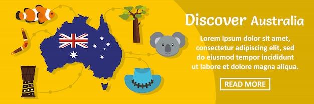 Odkryj australię szablon transparent poziomy koncepcji