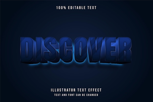 Odkryj, edytowalny tekst 3d z efektem niebieskiej gradacji neonowej