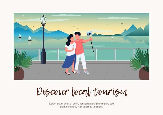 Odkryj płaski szablon transparentu lokalnego turystyki
