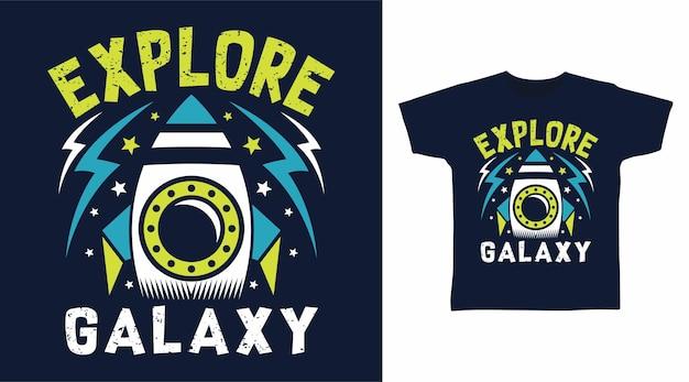 Odkryj rakietę galaktyki na projekt koszulki