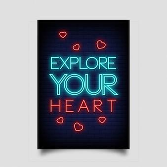 Odkryj swoje serce plakatów w neonowym stylu.