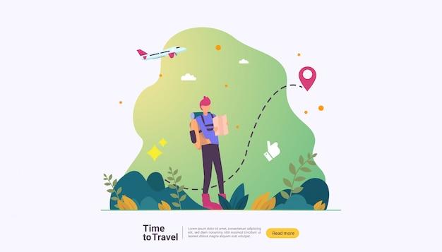 Odkryty letni temat turystyki pieszej, wspinaczki i trekkingu