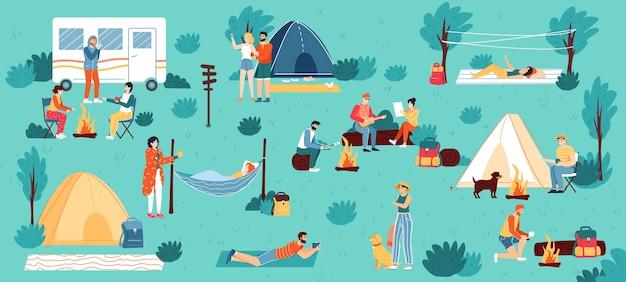 Odkryty tło camping