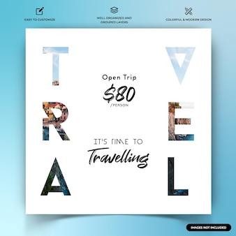 Odkrywcy podróży instagram post szablon banera internetowego