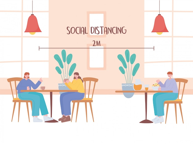 Odległości społeczne w restauracji, stoliki gości znajdują się w bezpiecznej odległości, zapobiegając zakażeniu koronawirusem