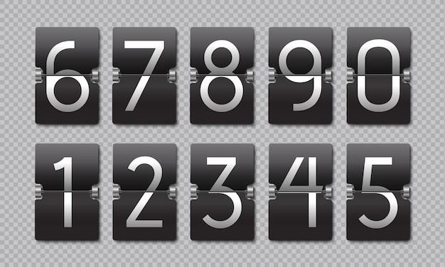 Odliczający czarny zegar z klapką. tablica wyników w stylu retro, analogowy wskaźnik pozostałego czasu, cyfrowy licznik czasu.