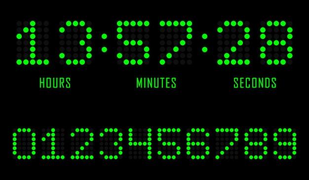 Odliczanie strony internetowej płaski szablon zegar cyfrowy zegar.