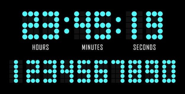 Odliczanie tła płaski szablon strony internetowej zegar cyfrowy. liczba kropek. minutnik. licznik zegara. cyfrowa tablica wyników.