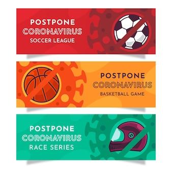Odłóż banery lig sportowych koronawirusa