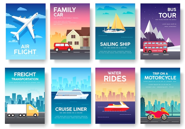 Odmiany transportu infografiki przewodnika wycieczek wakacyjnych