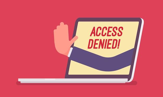 Odmowa dostępu znak na ekranie laptopa. ręka z urządzenia pokazująca, że użytkownik nie ma uprawnień do pliku, system odmawia podania hasła i dostępu do danych komputera, błąd z czerwonym sygnałem. ilustracja wektorowa
