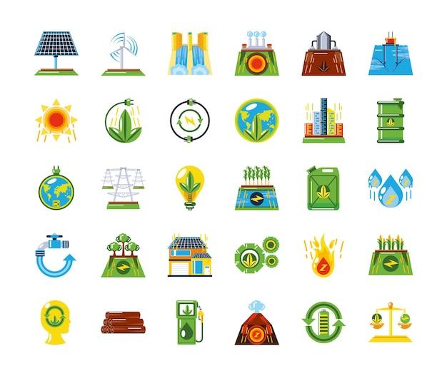 Odnawialne źródła energii czyste ikony zrównoważonego rozwoju