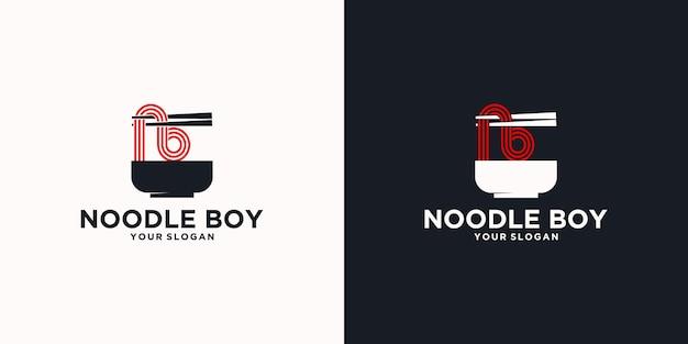 Odniesienie do logo makaronu, z początkowym stylem, sklep z makaronem, ramen, udon, sklep spożywczy i inne.