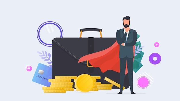 Odnoszący sukcesy biznesmen. duża walizka, portfel, karta kredytowa, złote monety