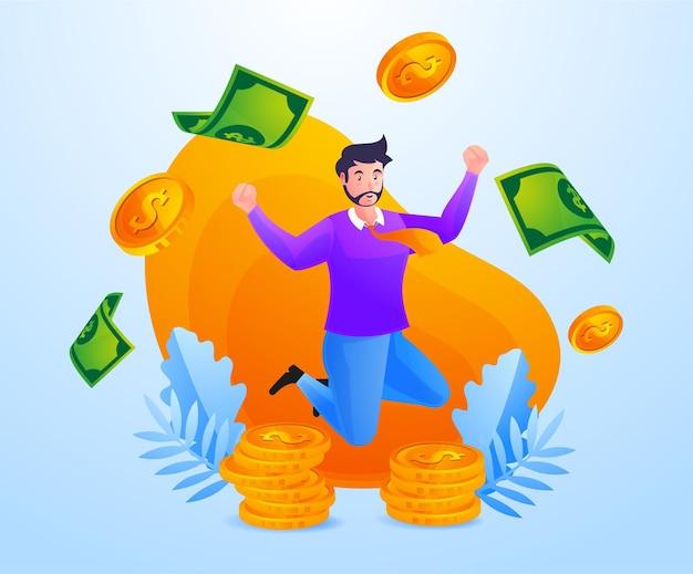 Odnoszący sukcesy biznesmen zarabia dużo pieniędzy