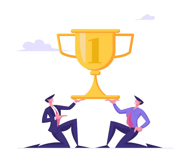 Odnoszący sukcesy biznesmeni stoją na kolanach, trzymając w rękach ogromny złoty kielich