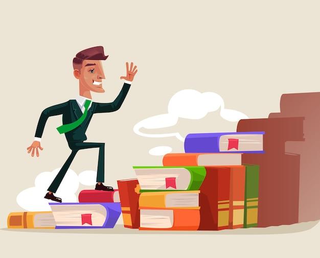 Odnoszący sukcesy pracownik biurowy wspinający się po książce