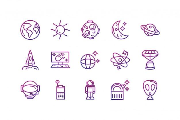 Odosobniona astronautyczna ikona ustawiający wektorowy projekt