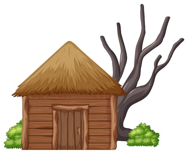 Odosobniona drewniana buda na białym tle