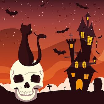 Odosobniona halloween kasztelu czaszka i kot