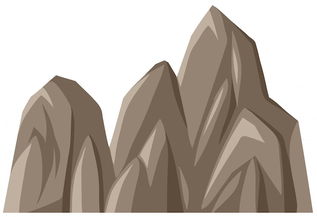 Odosobniona kamienna góra na whote tle