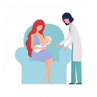Odosobniona matka z dzieckiem i lekarką