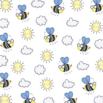 Odosobniona pszczoła remisu kreskówki ilustracja