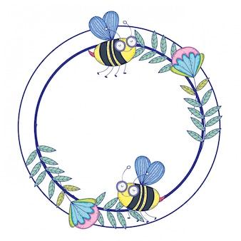 Odosobniona pszczoła remisu kreskówki projekta ilustracja