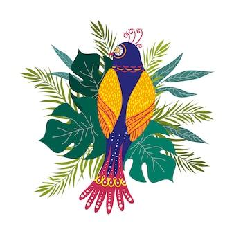 Odosobniona ręka rysuje egzotycznego ptaka i tropikalnych liście. modny styl. wektor