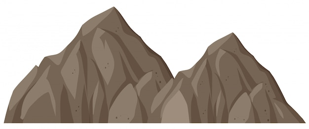 Odosobniona rockowa góra na białym tle