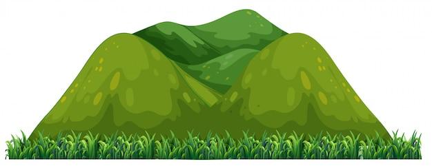 Odosobniona zielona góra na białym tle