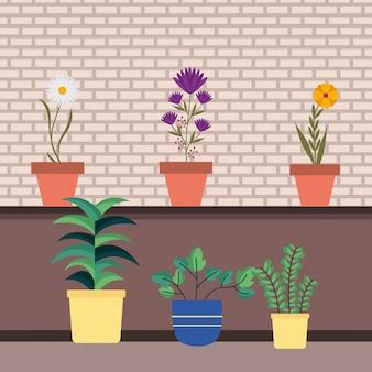 Odosobnione rośliny doniczkowe wśrodku garnków wektorowych