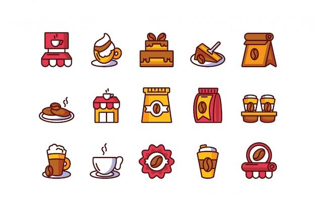 Odosobnionej kawowej ikony ustalony wektorowy projekt